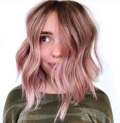Light Rose Gold Balayage Idea Rose Gold Blonde, Rose Gold Balayage, Blonde With Pink, Rose Gold Hair, Light Pink Hair, Light Rose, Curly Lace Front Wigs, Hair Density, Synthetic Hair