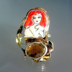 Statement Ring of Redhead Goddess and Rose by laurastamperdesigns, $268.00