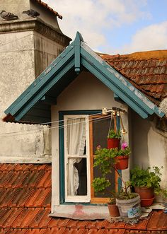 Sintra, Portugal ...A wonderful little gable window with white ruffled curtain and a clothesline!