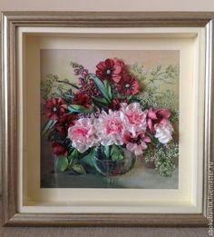 Цветочная композиция - коралловый,Вышивка лентами,шелковые ленты,картина с цветами Ribbon Art, Floral Wreath, Wreaths, Frame, Painting, Home Decor, Picture Frame, Floral Crown, Decoration Home