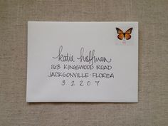 Hand Addressed Envelope Script- After talking to Whitney, I think this is how we will address the envelopes. Cute!