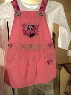 Hand crafted overalls #minniemouse