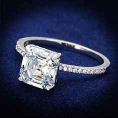 A Perfect 3CT Asscher Cut Halo Russian Lab Diamond Engagement Ring