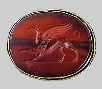Cornelian intaglio with griffin scythian  5th century BCE.  Haimanova Mohyla tumulus near the village of Balky, Zaporizhia Region.  Excavations 1970.