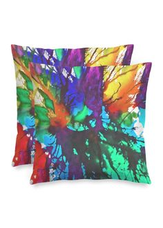 Blossoming 10-c - Square Pillow by Eliora BOUSQUET Red Pillows, Accent Pillows, Black Garden, Black Mountain, Decoration, Pillow Covers, Creations, Abstract, Artist