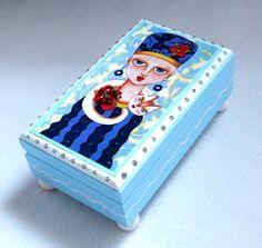 Jewelry Box, Cat Art Wood Box, Home Decor, Girl Art Trinket Box OAK ...