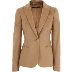 Gucci Camel Blazer Milano ($1,350) ❤ liked on Polyvore featuring outerwear, jackets, blazers, coats, tops, beige jacket, gucci jacket, gucci blazer, blazer jacket and camel jacket