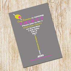 Martini Invitation  Cocktail Party Invitation  30th door peachymommy, $15.00