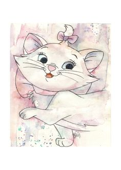 Marie Aristocats Watercolor Print A4 Mounted Disney Classic Art Cat Kitten Bow Cute Pink on Etsy, $8.71