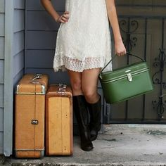 vintage green train case luggage