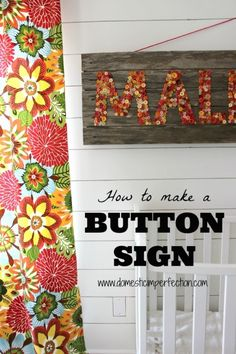 Huge monogrammed sign made from rustic wood and buttons!