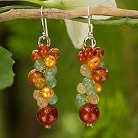 Cultured pearl and carnelian cluster earrings, 'Golden Vineyard' from @NOVICA, They help #artisans succeed worldwide.