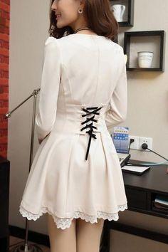 Elegant Lace Trim A-Line Dress Cute Fashion, Asian Fashion, Skater Dress, Dress Skirt, Pinup, Black Long Sleeve Dress, Lolita Dress, Sweater Outfits, Fall Outfits