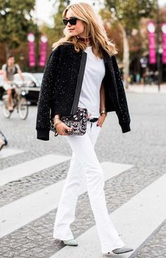 Black Embellished Bomber Jacket by A Love Is Blind All White Outfit, White Outfits, Look Street Style, Street Chic, Office Looks, T Shirt Branca, Fashion Gone Rouge, Schneider, Look Chic