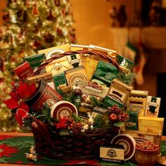 Christmas is a Time for Grand Gatherings Holiday Gourmet Gift Basket from GBA Holiday Collection Gourmet Gift Baskets, Christmas Baskets, Christmas Gift Baskets, Gourmet Gifts, Diy Christmas Gifts, Holiday Gifts, Christmas Holiday, Christmas Snacks, Christmas Items