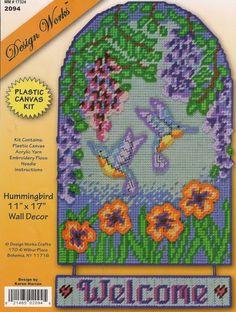Hummingbird Welcome Sign Plastic Canvas by needlecraftsupershop, $19.99