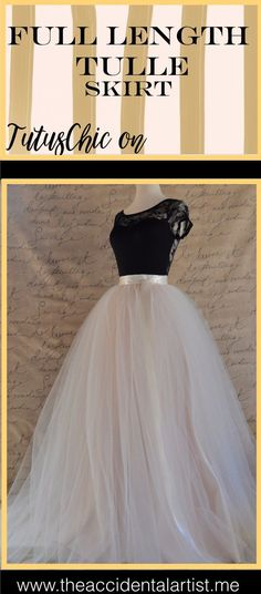 Full length womens ivory blush tulle skirt by TutusChic Originals. Click on photo to purchase or read more!