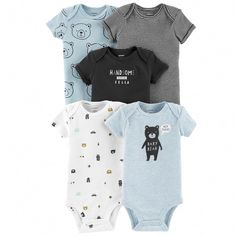Carter's Baby Boys 5 Pack Bodysuit Set, Baby Bear, Preemie ** Check out the image by visiting the link. (This is an affiliate link) Baby Boy Fashion, Fashion Kids, Fashion 2017, Carters Baby Boys, Baby Kids, Baby Boy Outfits, Kids Outfits, Stylish Outfits, Baby Model