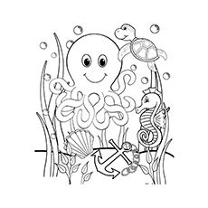 Octopus Coloring Page Kids Pinterest