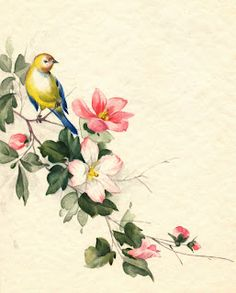 Printable bird and blossoms