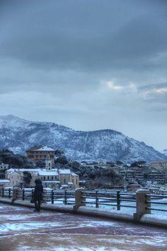 Corso Italia, foto inviata al Secolo XIX da Marcello Terruli. La neve a #Genova.