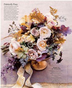 Purple Kale, salvia buds, black chervil, lavender garden roses, marbled coralbell leaves, gilded acorns & oak leaves (Color scheme: Lavender, purple, gold/copper, chocolate, peach, and plum)