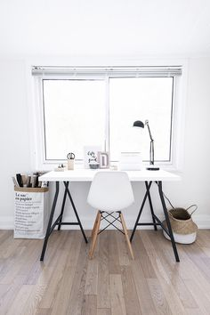 Small Scandinavian office with Eames chair, IKEA desk, Le sac en papier bag + belly basket - Top 10 tips for adding Scandinavian style to your home