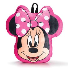 """Safe keeping!A pink Minnie Mouse cuddle pillow with a convenient back pocket for pajamas or toys.FEATURES• Cuddle pillow is the head of Minnie Mouse• Has stretch pocket on back for toys, pajamas, or art supplies• Convenient handle for easy carrying• 14"""" x 14"""" MATERIALS• 100% PolyesterCARE•Spot clean with a dry clothAges 3 and upMade in ChinaShop other Minnie Mouse productsincluding the Minnie Mouse Stash-N-Go Pillow, the Minnie Mouse Zippysack..."""