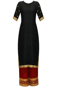 Black embroidered motifs kurta set with mukaish scarf available only at Pernia's Pop-Up Shop.