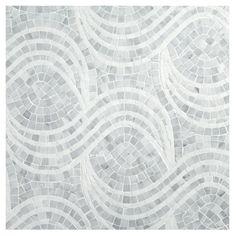 Complete Tile Collection Unique Mosaic Tile Patterns, Blowing Linen Mosaic, MI#: 268-S2-400-822, Color: Carara (H) & Thassos (P)