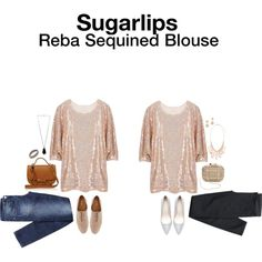 Reba Sequined Blouse - received 12/31/14, returned. Fun piece but an odd cut, wasn't as long as it looks in the picture and overall boxy looking. And the sequins stick/get tangled in one another. Picked up more of a copper/orange color.