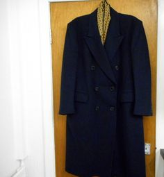 Crombie coat 40 -42  navy blue pure wool overcoat vintage perfect winter classic