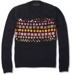 Burberry Prorsum wooden-badge embellished cashmere sweater