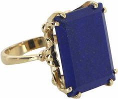 One Kings Lane Vintage Large Lapis Lazuli Cocktail Ring
