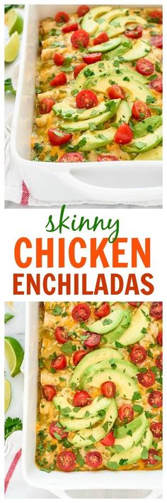 This simple and healthy recipe for Creamy Chicken Enchiladas is the BEST! Easy to make, freezer-friendly, and lightened up with everyday ingredients. Your whole family will LOVE this recipe!