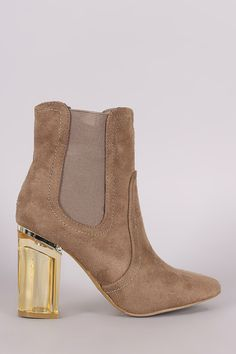 Suede Elastic Gore Chunky Clear Heeled Ankle Boots