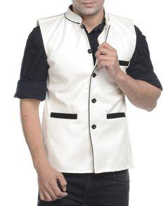 White embossed brushed nehru jacket   1. White faux leather jacket2. Chest size: Medium-40 inches, Large-42 inches, XL-44 inches3. Jacket length: 27 inches, Large-27 inches, 28, XL-44 inches
