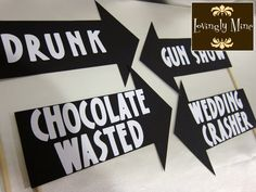 Photobooth Props - Ultimate Humor 7 Piece Set - Chocolate Wasted, Total Facebook Pic, Wedding Crasher. Drunk, Gun Show, I'm So Drunk and Run. $25.00, via Etsy.