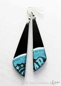 recycled jewelry. vinyl record earrings. black by LesCreationsdAna