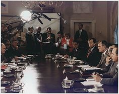 The Persian Gulf Crisis On August 1-2, 1990, eighty thousand Iraqi troops and tanks crossed the border into Kuwait, triggering events that would lead to the Persian Gulf War and Operation Desert Storm. Photo: President Bush participates in a full National Security Council meeting regarding Iraq invasion of Kuwait. 8/2/90.