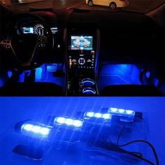 High Quality Blue 4in1 12V 4x 3LED car Interior light Decorative Atmosphere Lights Car Styling Lamp For Ford