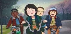 Lucas, Mike, Eleven e Dustin: fan art da série Stranger Things. Todos os direitos reservados à Netflix, Inc.