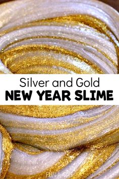 This sparkly gold and silver DIY slime (with no borax!) is full of the things kids love - fun and glitter! Use it for New Years, as part or a pirate theme, or just for some sparkly fun! #funaday… More Sensory Activities For Preschoolers, New Years Activities, Creative Activities For Kids, Indoor Activities For Kids, Toddler Activities, Toddler Games, Creative Play, Summer Activities, Family Activities
