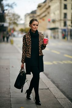 leopard blazer with all black outfit