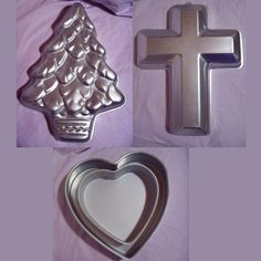 Lot of 4 ~ 90s Wilton Cake Pans ~ EUC, Christmas Tree, Cross, Hearts   LAST CALL #Wilton #baking #cake #cakedecorating #cook #hearts #cross #Christmastree #cookware #bakeware #auction #eBay