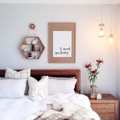 An eclectic mix of wooden accent pieces inspire comfort and warmth in a cozy space Blue Bedroom, Bedroom Decor, Bedroom Ideas, Bedroom Inspiration, Master Bedroom, Interior Inspiration, Bedroom Designs, Cheap Sheets, Big Bedrooms
