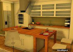 Infografía 3d de cocina para propuesta de reforma en apartamento de Gijón www.nddiseno.es