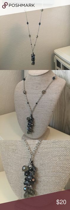 Beautiful Gray Crystal Long Necklace Gorgeous varying shades of gray crystals.  Silver tone chain.  30in long with 3 inch extender. Lia Sophia Jewelry Necklaces