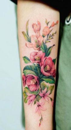 Flower Tattoo Back, Flower Sleeve, Flower Tattoo Shoulder, Flower Tattoo Designs, Tattoo Flowers, Colorful Flower Tattoo, Vintage Flower Tattoo, Form Tattoo, Shape Tattoo