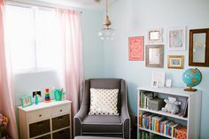 Pink and Turquoise Nursery with Vintage Accents - #nursery #vintage